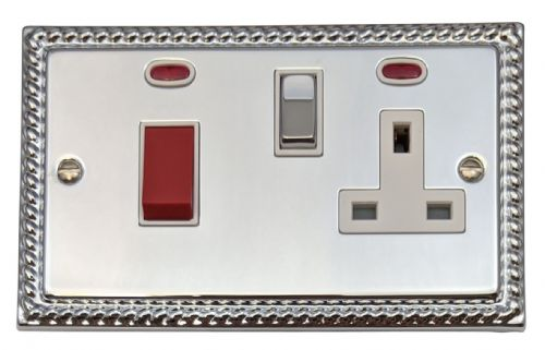G&H MC229 Monarch Roped Polished Chrome 45 Amp DP Cooker Switch & 13A Switched Socket